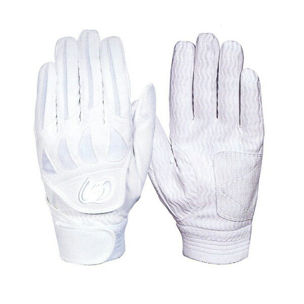 【ネーム刺繍無料】【A】ジームス(Zeems) 高校野球対応 バッティング手袋(両手用) ZER-610W カラー:ホワイト【送料無料/野球用品】