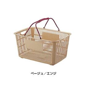 ショッピングバスケット U-31 ベージュ/エンジ <ベージュ/エンジ>( キッチンブランチ )
