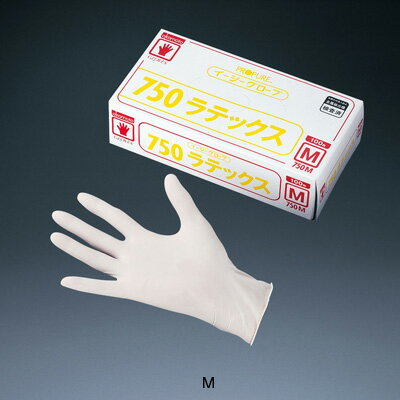 オカモト イージーグローブ ラテックス No.750 (粉付)(100枚入) M 全長23cm( キッチンブランチ )