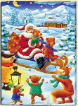 クリスマススノーシーン日めくりカレンダー(アドベントカレンダー)Aチョコレート入りそりに乗ったサンタ【輸入食品】