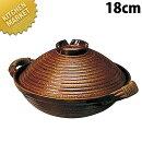 電磁用手造り楽鍋(赤アメ釉)アケビ巻18cm