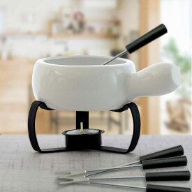 あす楽 チョコフォンデュセット 白 1個 チーズフォンデュ鍋 キャンドル フォーク付き 業務用食器