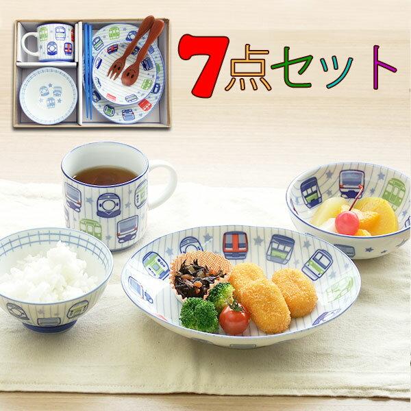 子供食器セット レインフェイス7点セット 送料無料 美濃焼 皿 小鉢 茶碗 マグ 箸 スプーン フォーク TFAVPKO