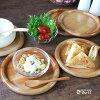 木製丸いトレー皿ナチュラル