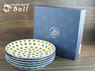 POLSKAパスタプレート5枚セット..+/日本製/スープ皿/深型大皿/カレー皿/盛皿/ポーランド風模様/東欧調/