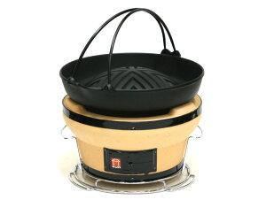 [3〜5人用] ジンギスこんろ&南部鉄器 焼肉ジンギスカン鍋 ツル付 ラム マトン ジンギスカン 鉄鍋 鉄板 セット 焼肉プレート バーベキュー BBQ アウトドア 七輪 炭火
