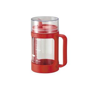 アスベル 1132 フォルマ・ガラスポット(液体用) レッド 調味料ボトル 調味料ポット ガラス製