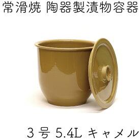 日本製 漬物容器 常滑焼 かめ 蓋付 3号 5.4L キャメル (陶器製)