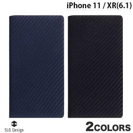 【マラソンクーポン有り】 SLG Design iPhone 11 / XR carbon leather case 本革 カーボン柄 手帳型ケース エスエルジー デザイン (iPhone 11 / XR スマホケース) [PSR]
