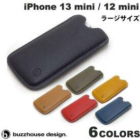 [ネコポス送料無料] buzzhouse design iPhone 12 mini ハンドメイドレザーケース 縦スリーブ ラージサイズ バズハウスデザイン (iPhone12mini スマホケース) [PSR]