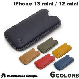 [ネコポス送料無料] buzzhouse design iPhone 12 mini ハンドメイドレザーケース 縦スリーブタイプ バズハウスデザイン (iPhone12mini スマホケース) [PSR]