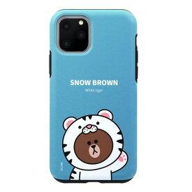 [ネコポス発送] LINE FRIENDS iPhone 11 Pro JUNGLE BROWN DUAL GUARD スノーブラウン # KCJ-DJT003 ラインフレンズ (iPhone11Pro スマホケース) [PSR]