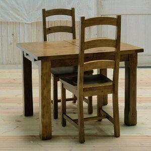 【送料無料】Kitol(キトル)家具 ダイニングテーブル3点セット(ダイニングテーブル+チェア2脚) 伸縮式 白 ホワイト アイボリー 北欧 かわいい アンティーク ナチュラル カントリー 幅130cm 100cm