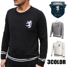 アドミラルゴルフ(Admiral GOLF) セーター メンズ バックインターシャ クルーネック ニット ブラック/グレー/ホワイト M/L/LL
