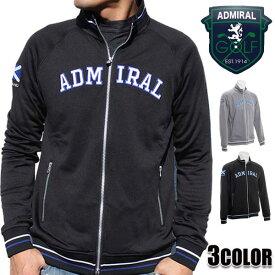 アドミラルゴルフ(Admiral GOLF) トラックジャケット メンズ フリース ジャージ ストレッチ ゴルフウェア ブラック/グレー M/L/LL
