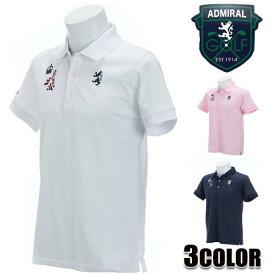 アドミラルゴルフ AdmiralGOLF メンズ ポロシャツ ホワイト ネイビー ピンク M L LL 半袖 ADMA811 エンブレム リンクス アドミラル Admiral