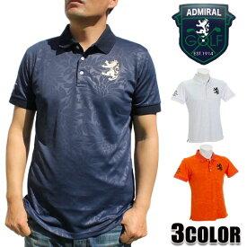 アドミラルゴルフ AdmiralGOLF メンズ ポロシャツ ホワイト ネイビー オレンジ M L LL 半袖 ADMA951 パーツギンガムリーフ 涼感素材 ボタニカル柄プリント アドミラル Admiral
