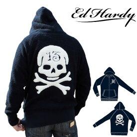 【300円OFFクーポン10月29日09:59迄】エドハーディー パーカー もこもこ メンズ ED HARDY スカル ネイビー M08PTCH552 エド・ハーディー エドハーディ EDHARDY タトゥー