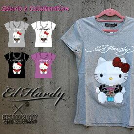 エドハーディー×サンリオ コラボTシャツ ハローキティー Ed Hardy×Sanrio Hello Kitty レディース 半袖Tシャツ エドハーディー EdHardy ラブキル スカル W02SKDL エド・ハーディー edhardy タトゥー エドハーディー edhardy レデイース T-shirts エドハーディ