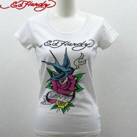 エドハーディー Tシャツ レディース Ed Hardy LOVE BIRD ローズ ホワイト W02JBSC202 エド・ハーディー edhardy タトゥー エドハーディ T-shirt