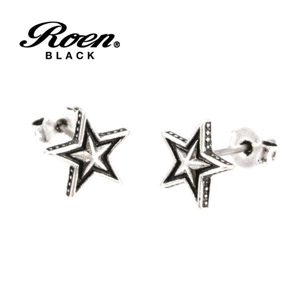 Roen BLACK ビアス ロエン ブラック スタッドピアス 星 スター シルバー RO-108 チタンポスト メンズ レディース アクセサリー ジュエリー ブランド アクセ