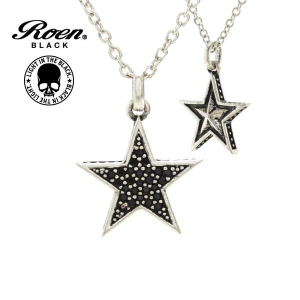 Roen BLACK ネックレス 星 スター ロエン ブラック ペンダント STAR シルバー×ブラックキュービックジルコニア ラウンド ネックレス チェーンネックレス RO-602 メンズ レディース アクセサリー ジュエリー ブランド アクセ