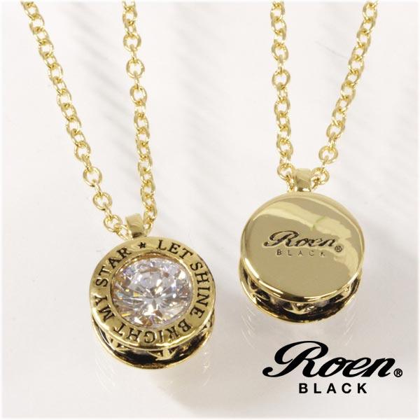 Roen BLACK ネックレス 星 スター ロエン ブラック ペンダント STAR ゴールド キュービック クリスタル ネックレス チェーンネックレス RO-607 メンズ レディース アクセサリー ジュエリー ブランド アクセ