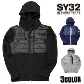 SY32 by SWEET YEARS パーカー メンズ エスワイサーティトゥバイスィートイヤーズ インシュレーションMIXダブルニットフーディー ブラック ネイビー グレー 8103 トップス SWEET YEARS エスワイ32 TOPS