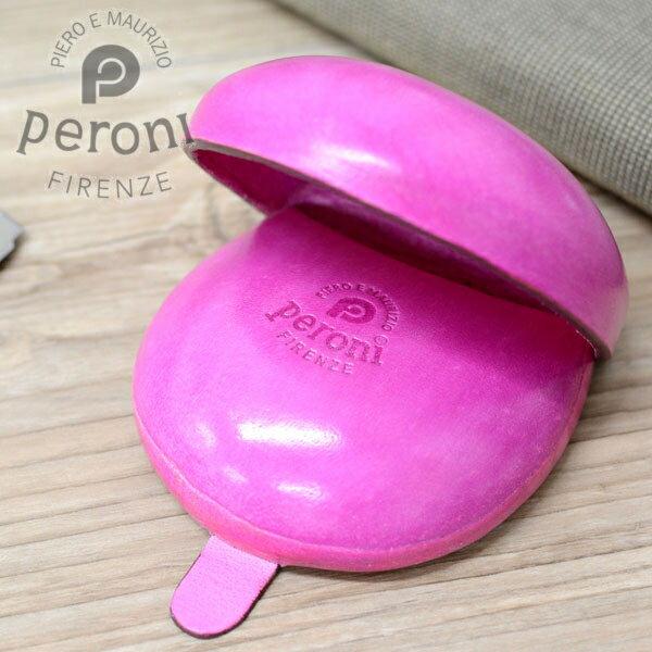 Peroni ペローニ コインケース 594 ピンク イタリア製のコロンとした革製小銭入れ 【素押しロゴタイプ】