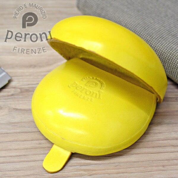 Peroni ペローニ コインケース 594 イエロー イタリア製のコロンとした革製小銭入れ 【素押しロゴタイプ】