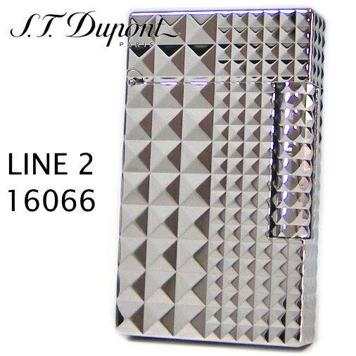 エス・テー・デュポン ライン2 ライター 16066 アイコニック・ダイアモンドヘッド パラディウム装飾 【新品】【正規品】 フリントガスライター デュポンライター