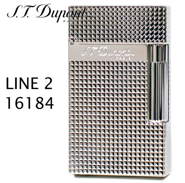デュポン ライン2 ライター 16184 ダイヤモンドヘッド シルバー装飾 フリントガスライター