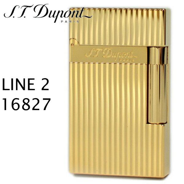 エス・テー・デュポン ライン2 ライター 16827 ヴァーティカルライン イエローゴールド装飾 フリントガスライター デュポンライター