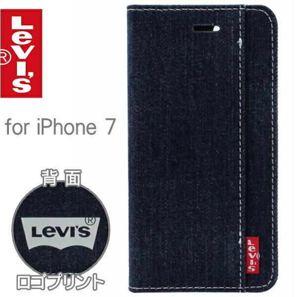 Levi's リーバイス iPhoneケース for iPhone7 ブックタイプケース 背面ロゴプリントタイプ LEVI-iP7-print