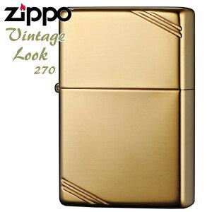 ZIPPO ジッポー 270 フラットトップ ハイポリッシュブラス 定番 無地 真鍮無垢 ソリッドブラス 金色 Vintage Look ジッポライターメンズ ギフト