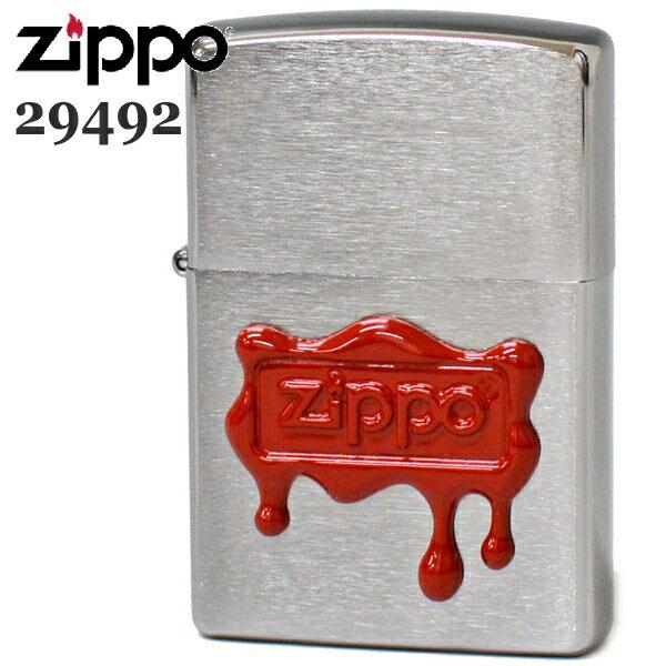 ZIPPO ジッポー 29492 レッドワックスシール 赤いロウで封をしたデザインのZIPPOライター ZIPPOロゴ 名入れ対応【誕生日】【記念日】【バレンタイン】【ギフト】【再入荷】