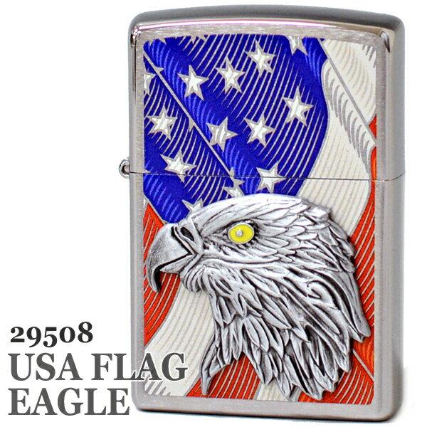 ZIPPO ジッポー 29508 USA FLAG EAGLE Emblem 星条旗 イーグル エンブレム 渋い かっこいい ジッポーライター Zippo【誕生日】【記念日】【卒業祝い】【就職祝い】【ギフト】