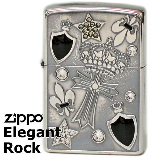 ZIPPO EGR-C エレガントロック クロス&クラウン柄 シルバーイブシ ジッポーライター 【再入荷】