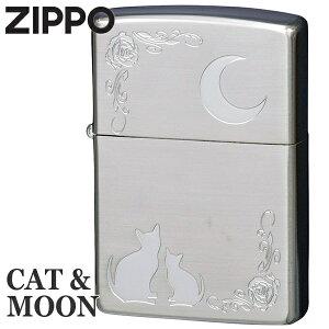 ZIPPO ジッポー NKM-SV キャット&ムーン 銀メッキ 猫ちゃんと月 かわいいジッポーライターメンズ ギフト