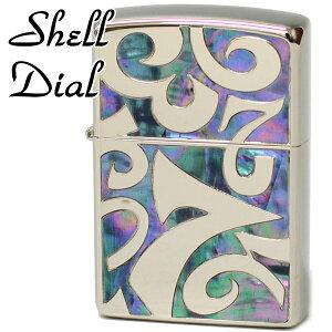 ZIPPO ジッポー SDZ-BL シェル ダイアル シルバーベース/ブルーシェル 銀鏡面 深彫り彫刻 シェル象嵌 奇抜なZIPPOライターメンズ ギフト