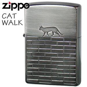 ZIPPO ジッポー 2BN-CATW キャットウォーク ブラックニッケル 猫ちゃんシルエット かわいいZIPPOライター
