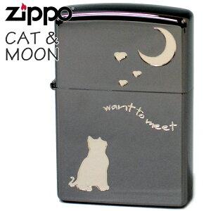 ZIPPO ジッポー 2CAT-BNA キャット&ムーン Aタイプブラック 猫と月 かわいい ZIPPOライター オイルライター 名入れ可 ギフトメンズ ギフト