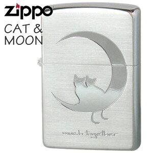 ZIPPO ジッポー 2CAT-SSB キャット&ムーン Bタイプシルバー 猫ちゃんと月 かわいいZIPPOライターメンズ ギフト
