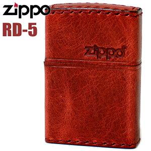 ZIPPO ライター ジッポー RD-5 革巻き レザー ZIPPOロゴ ヨコロゴ ダメージレッド 赤 ジッポーライター オイルライター zippo 父の日 ギフト