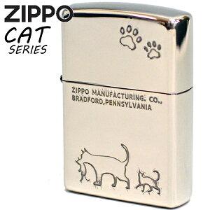 ZIPPO ジッポー 2NI-CAT2 キャット ニッケルイブシ 猫ちゃん かわいい ジッポーライター 名入れ対応 ギフト