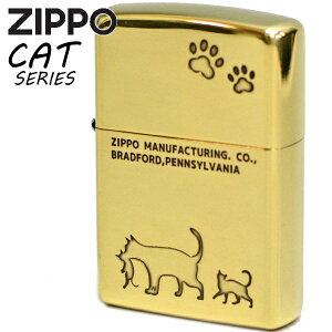 ZIPPO ジッポー 2NI-CAT2 キャット 真鍮イブシ 猫ちゃん かわいい ジッポーライター 名入れ対応 ギフト