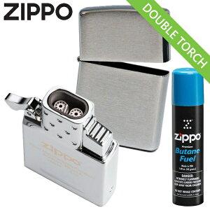 【3点セット】ZIPPO ライター 200FB + ガスライター インサイドユニット ダブルトーチ 65837 + ガスボンベ小缶 セット ZIPPO純正