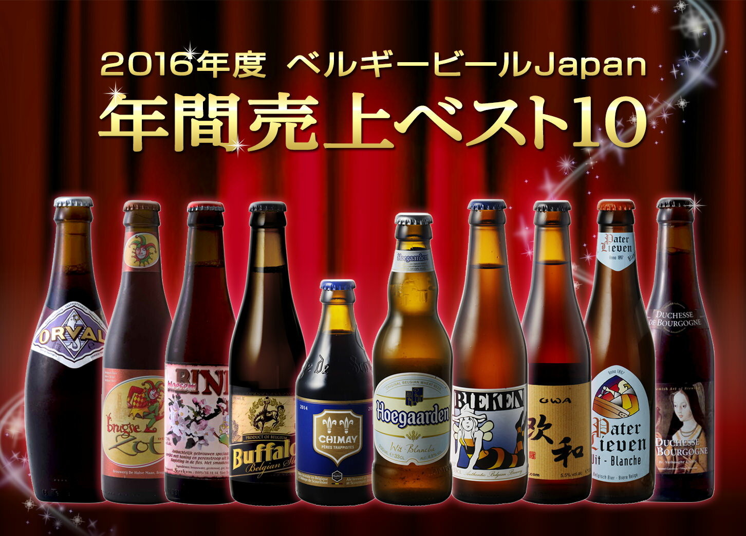 送料無料 ベルギービールJapan 2016年間売上トップ10セット(箱入) ベルギー ビール ギフト 贈答用 飲み比べ