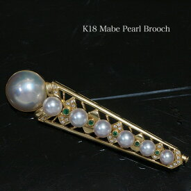K18 マベ真珠 デザインブローチ 14mm