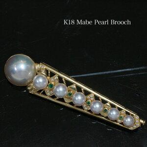 K18 マベ真珠 ブローチ 半円14mm パール 18金 ゴールド 大ぶり アンティーク 個性的